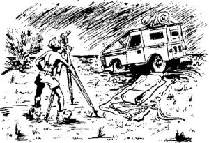 A sketch drawn by Len Beadell showing himself and his trusty Landrover