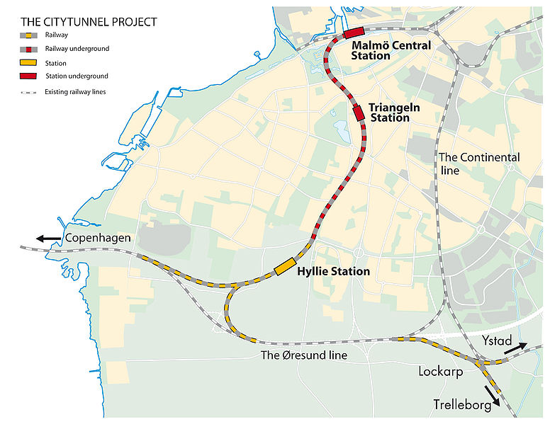 map of sweden malmo. Map of Malmo rail tunnel and