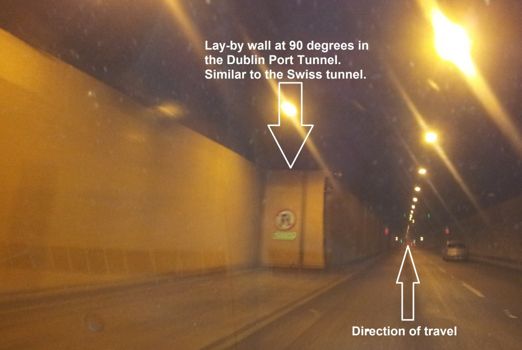 Dublin Port Tunnel. Lay-by walls