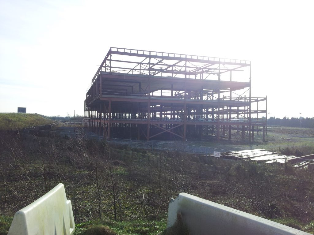 1. Unfinished steel framed building