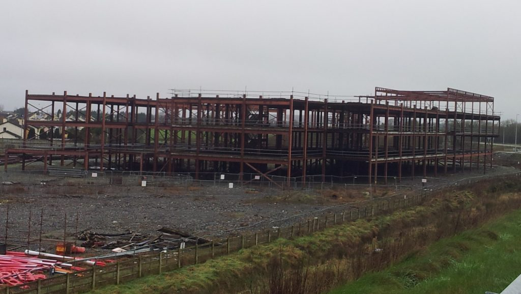 2. Unfinished steel framed building