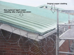 Copper roof cladding stolen from roof