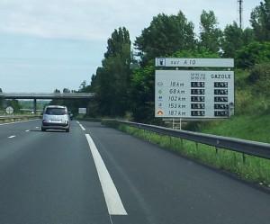 Motorway petrol price road sign