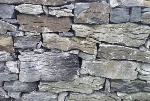 Irish dry stone walls. Rectangular rocks.