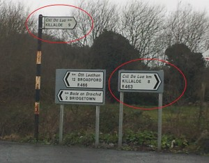 Irish Road signs. Two signs, different distances