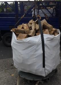 Unloading firewood