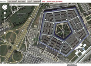 The Pentagon Building outlined in the reference map