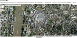 Pentagon compared with Waterloo Train Station, London
