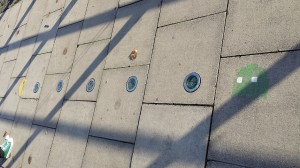 Clever Dublin griffi - pacman added to pavement lights