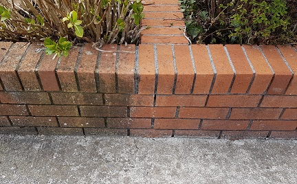 Cleaned boundary brick wall