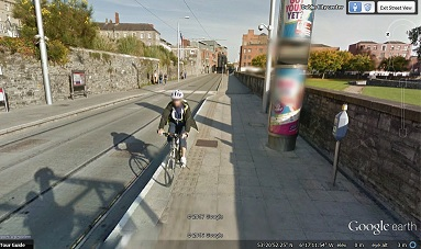 Google Street view of stop (with cyclist)